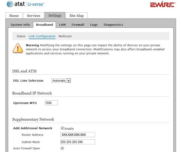 Configure Uverse Gateway (Static IPs) with pfsense router